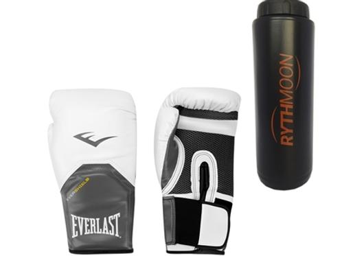 Kit Luva Boxe Elite Pro Style Everlast Branco 12oz + Squeeze Automático 1lt