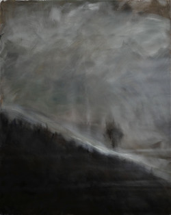 Colline, un arbre. 194x160.
