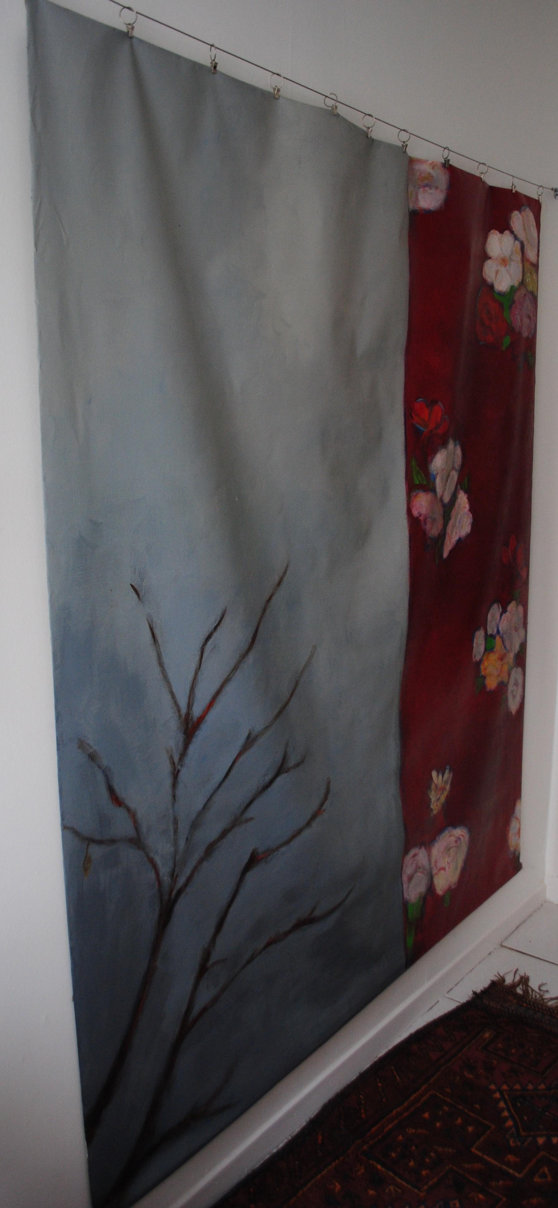 Arbre, décor rouge, 160x160