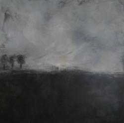 Paysage gris, 3 arbres. 150x150 cm, acryllique.