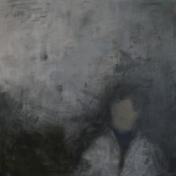 Portrait en blanc. Acrylique, 150x150 cm.
