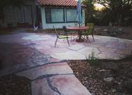 Walkway, patio, stepping stones, basins,