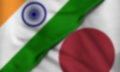 Two flags. 3D. People's Japan and India.