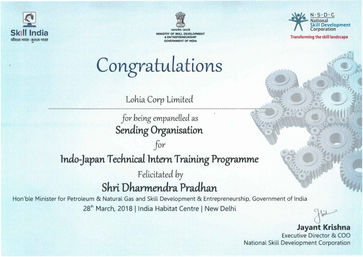 Official Certificate Lohia Corp Indian S