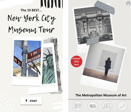 "Screenshot of two web-pages with the title ""New York City Museum Tour"" and pictures of The Met Museum"