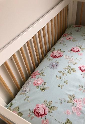 Rose Floral Pale Blue Cot Sheet