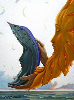 IL SOLE E LA LUNA ALL'ALBA -40x30 cm - acrilici ed olio su tela-.jpg