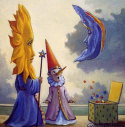 Pinocchio,il sole e la luna -  30x30  olio su pannello telato.jpg