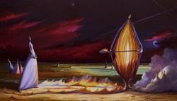 Il fuoco del tuo segno riscalda la mia terra - 40 x 70 cm. -olio su tela