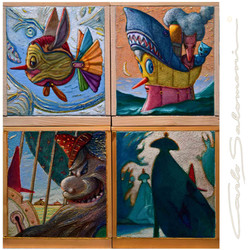 PINOCCHIO'S STORIES - ( 4 associated paintings )
