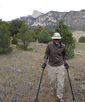 dave hiking with forearm crutches