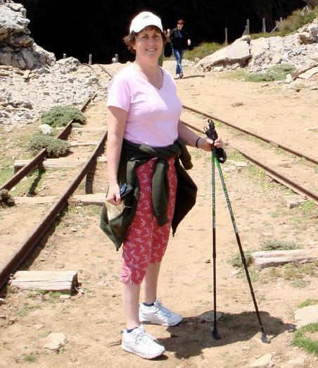 Novelist Jane Bow hiking with trekking poles