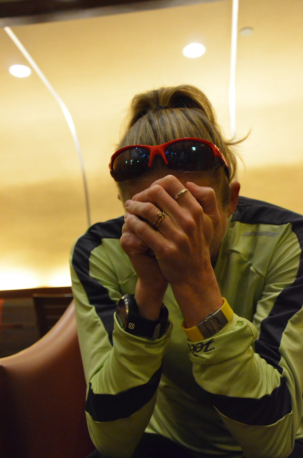 Triathlete Kelly Williamson thinking before a race