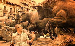 dave with bull sculpture in spain.JPG