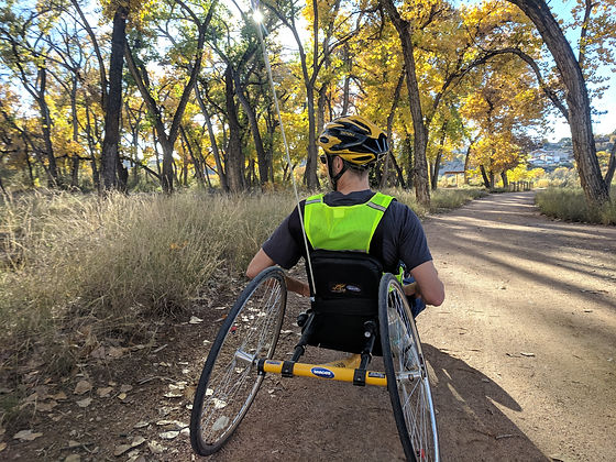 Dave Bexfield of ActiveMSers riding trike in New Mexico