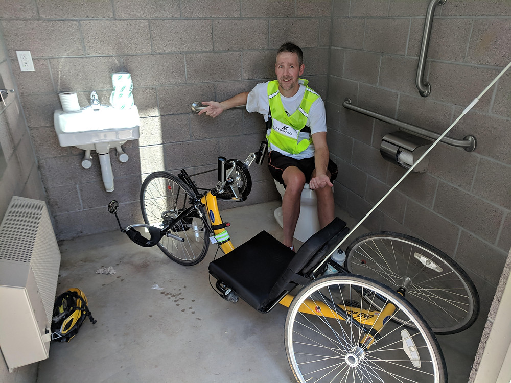 arm trike fits into a park bathroom in New Mexico