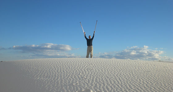 dave at white sands with forearm crutche