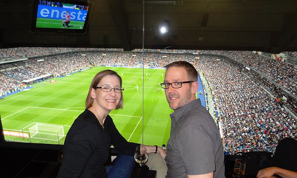 Dave and Laura in box seats at Real Madr