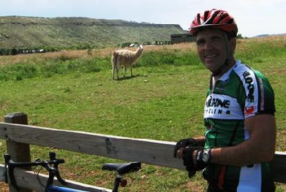 Ironman athlete with multiple sclerosis on a bike ride