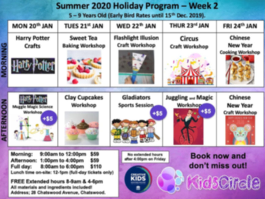Week 2 - Summer 2020 Early bird until 15