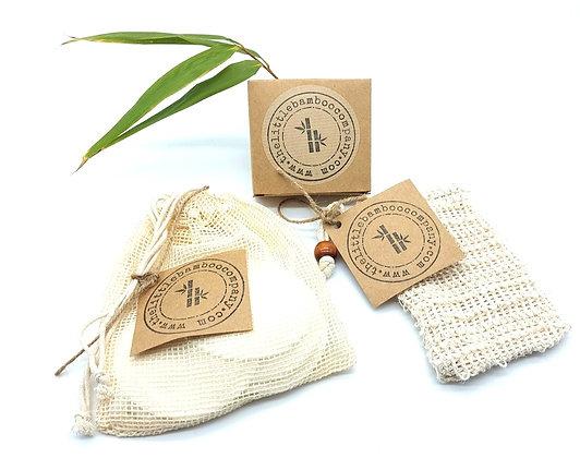 Bamboo Fibre Face Pads, Bamboo Cotton Buds and Exfoliating Soap Bag Bundle
