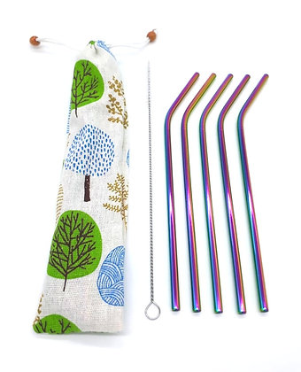 5 Stainless Steel Rainbow Straws in Pouch
