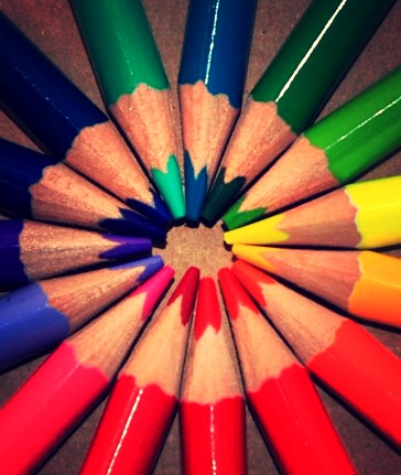 Circle of Colored Pencils Beige Background 2015-9-30-11:28:29
