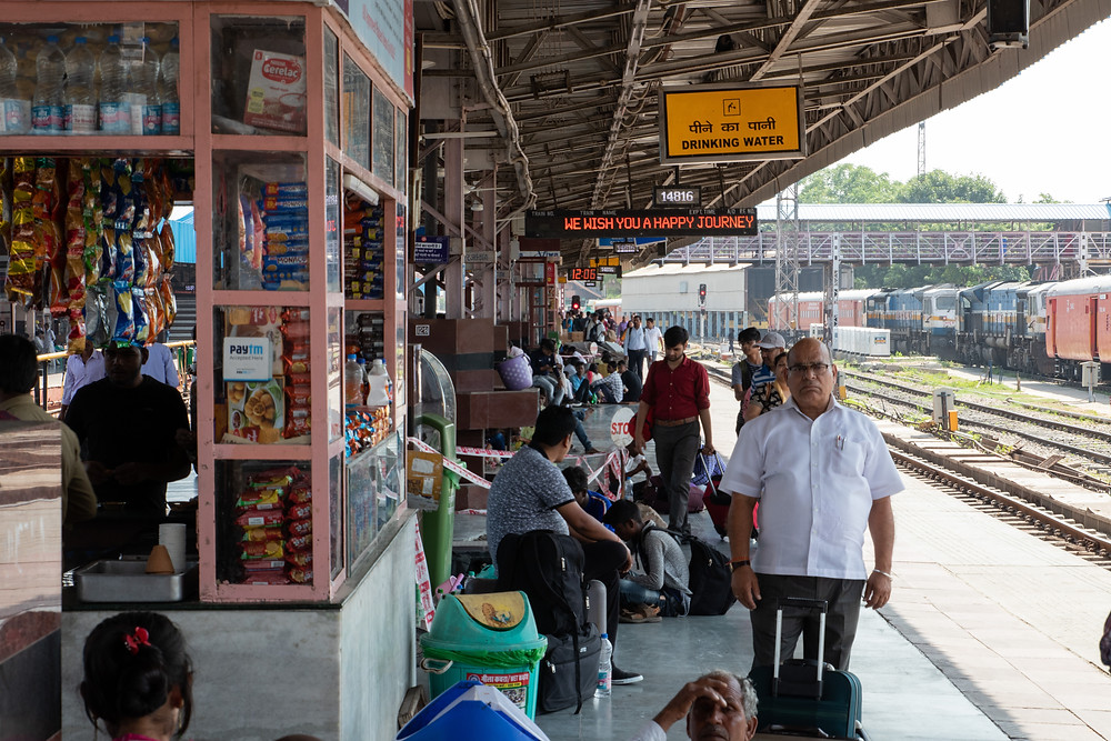 """""""We wish you a happy journey"""" - Train station in Agra"""