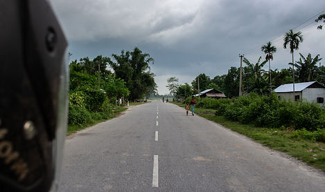 Assam road near Bongaigaon India