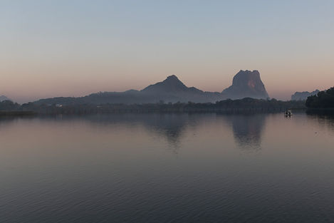 Khan Thar Yar lake view with themount zwegabin in the backdrop. Picture by hungrigaufmeer