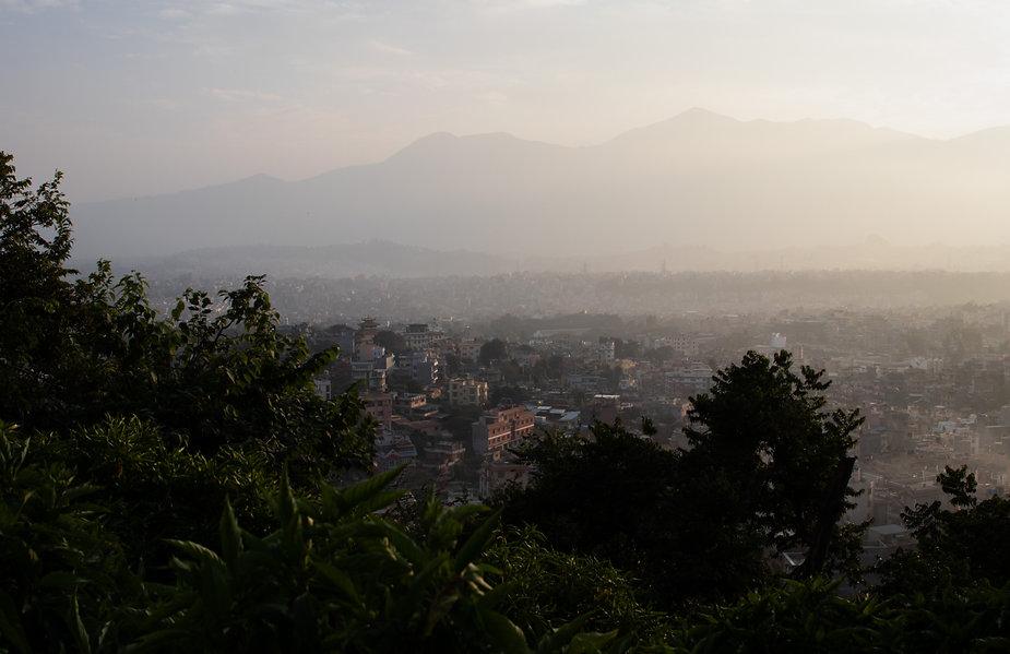 Kathmandu sunset stupa swayambhu