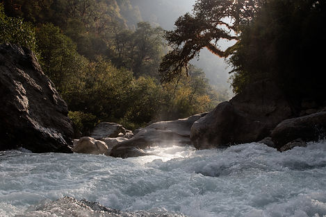 River sunset Lang Tang Valley Nepal Asia