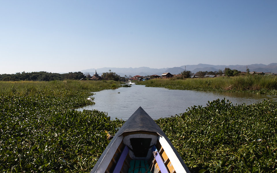 floating over the inle lake in myanmar asia. Picture by Hungrigaufmeer