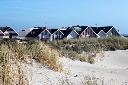Aveiro stripes on the houses and beach