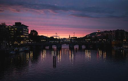 Sunset nieuwe Amstelbrug Amsterdam Netherland