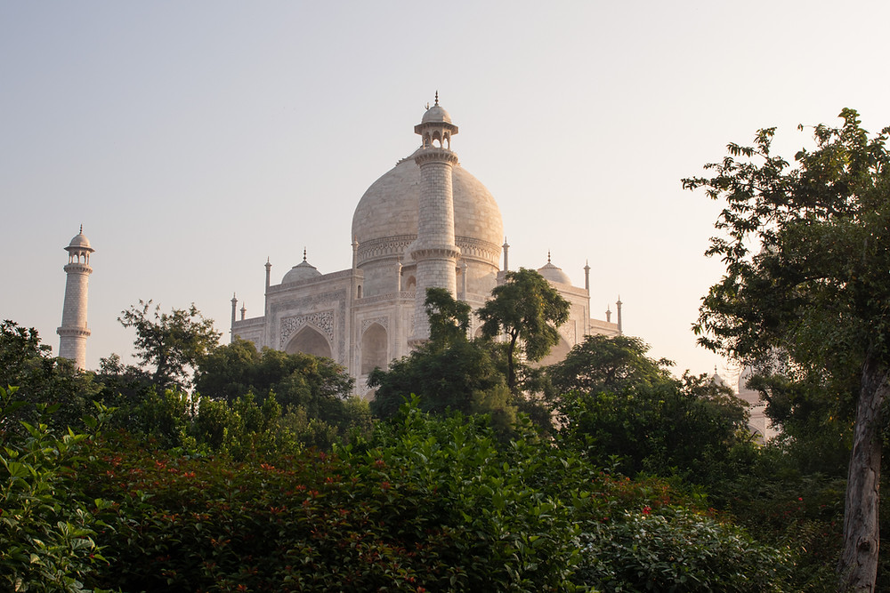 Sunrise at the Taj Mahal - View from the garden