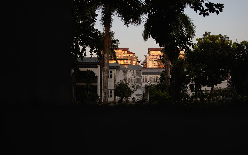 Yangon Rangun Myanamar houses during sunset