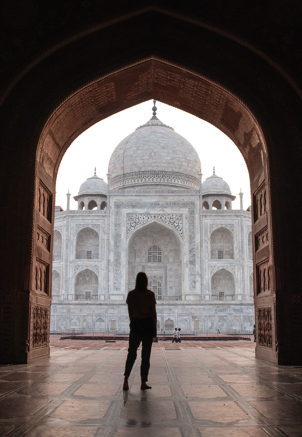 Girl in front of Taj Mahal from Kau Ban Mosque