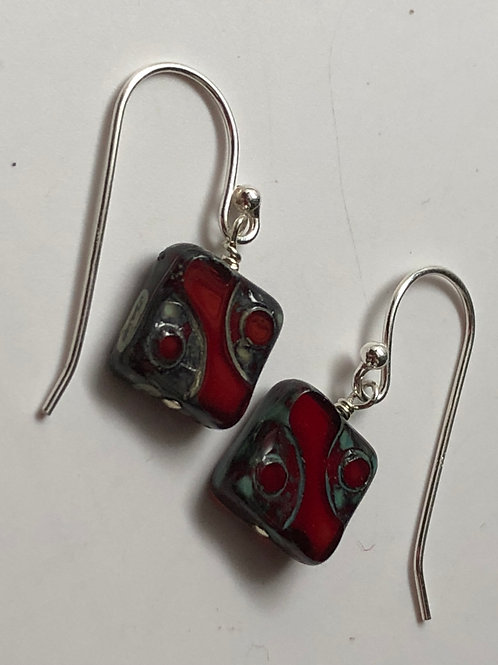 Garnet red Picasso Czech square glass bead