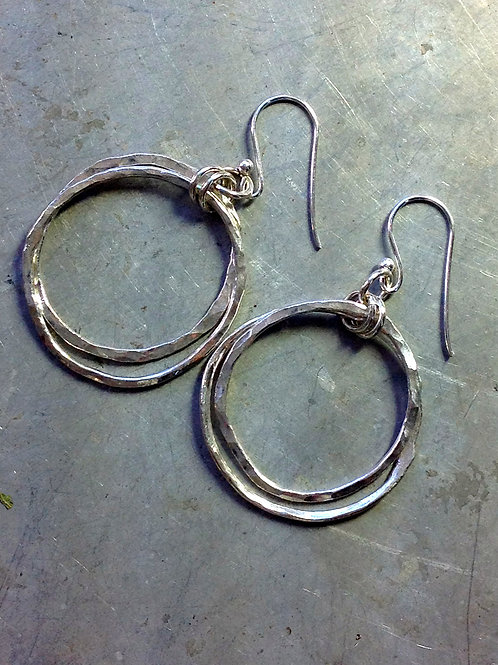 Double your trouble - silver hoops