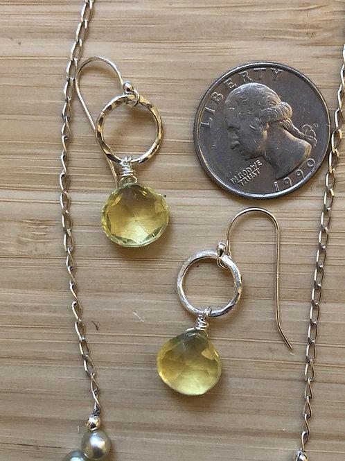 Citrine semi precious jewels- teardrops for your ears
