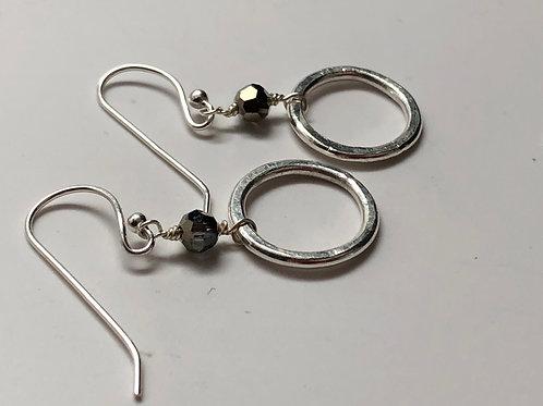 Hammered pure silver hoop w/gold Swarvoski crystal