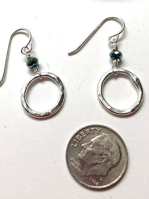 Baby silver hoop with sea green crystal