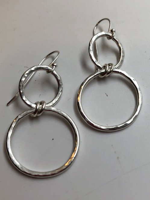 Figure 8 - mid size - pure fine hammered silver hoops