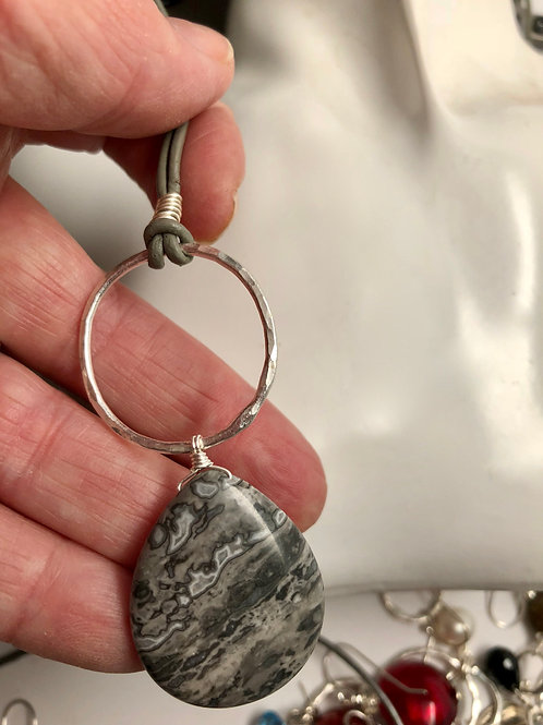 Crazy Lace agate, fine silver and leather- Natural look