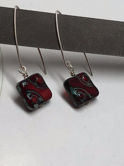 Garnet red Picasso Czech square beads