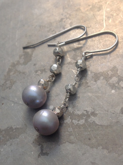 Gorgeous soft gray fresh water pearls dangles