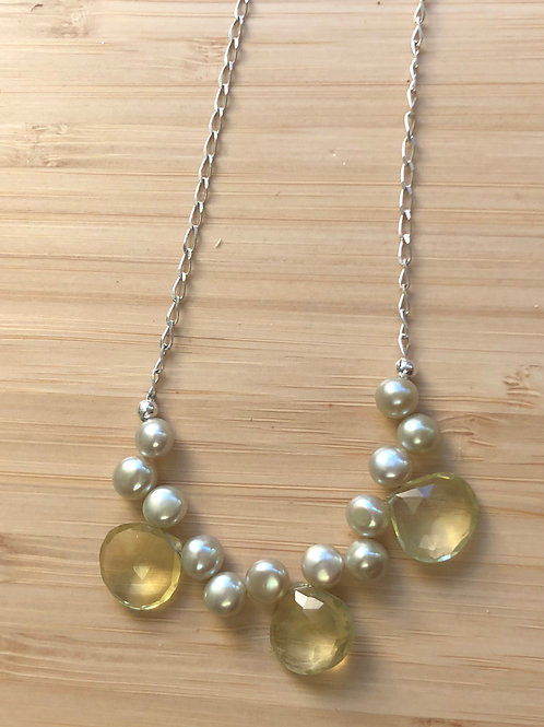 Citrine SET- necklace, pearls and silver...oh my!