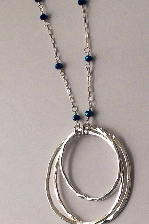 3 hoops on sterling sil blue crystal rosary chain