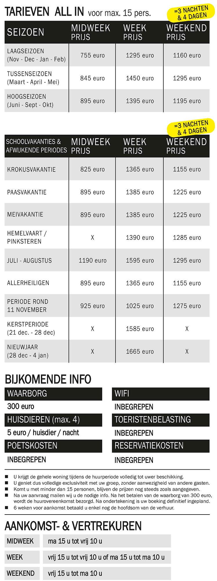 Prijzen vakantiewoning Durbuy Ardennen.j